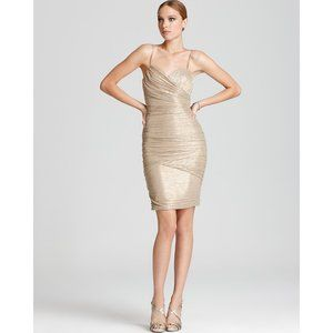MAX AND CLEO gold mini dress